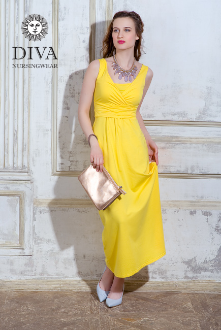 Nursing Dress Diva Nursingwear Alba Maxi Sleeveless, Limone