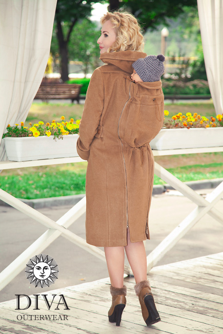 Babywearing Wool Winter Coat with a Backcarry Option, Camello