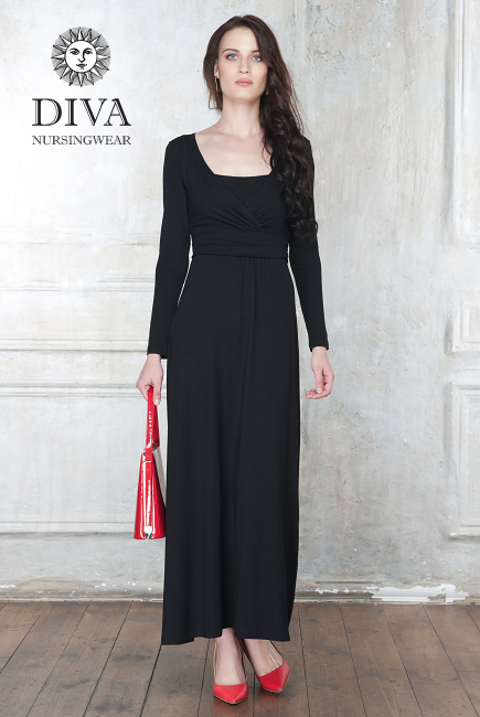 Nursing Dress Diva Nursingwear Alba Maxi Long Sleeved, Nero