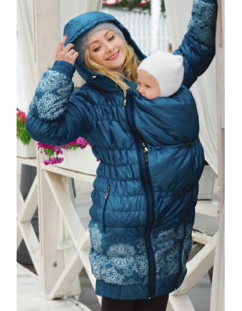Babywearing Coat 3 in 1 (high-warm), Azzurro