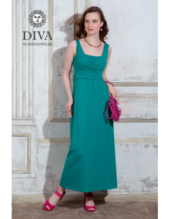 Nursing Dress Diva Nursingwear Alba Maxi Sleeveless, Smeraldo