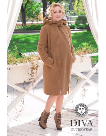 Babywearing Wool Winter Coat with a Backcarry Opion, Camello