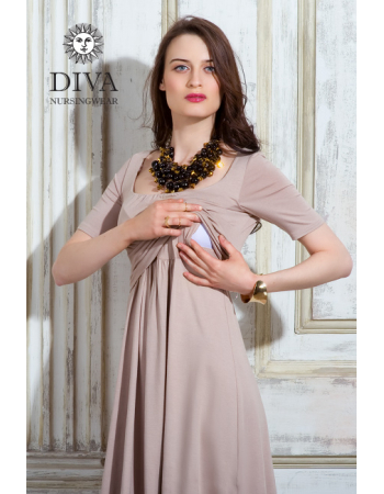 Nursing Dress Diva Nursingwear Stella Maxi, Grano