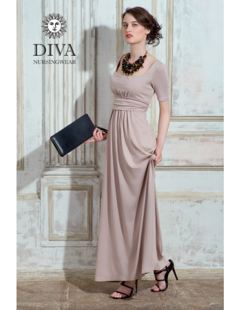Nursing Dress Diva Nursingwear Stella Maxi Short Sleeved, Grano