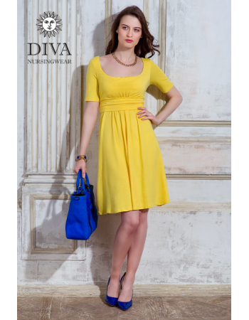 Nursing Dress Diva Nursingwear Stella Short Sleeved, Limone