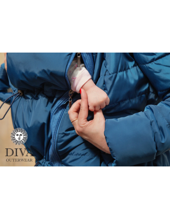 Babywearing Winter Coat 4 in 1 with a Back-Carry Option, Azzurro