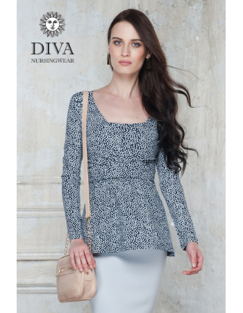 Nursing Top Diva Nursingwear Alba Long Sleeved, Domino