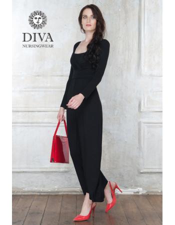 Nursing Dress Diva Nursingwear Alba Maxi Long Sleeved, Nero