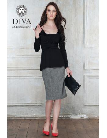 Nursing Top Diva Nursingwear Alba Long Sleeved, Nero