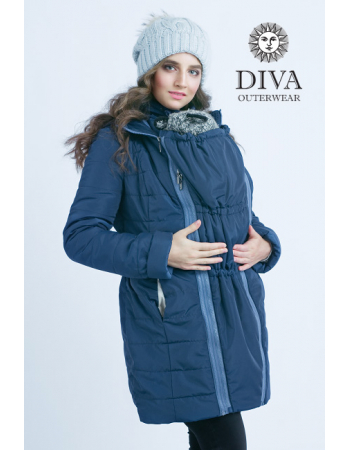 Babywearing Coat 4 in 1 with a Back-Carry Option (high-warm), Azzurro