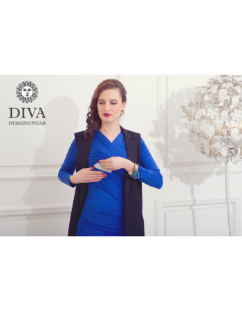 Nursing Dress Diva Nursingwear Lucia Long Sleeved, Azzurro