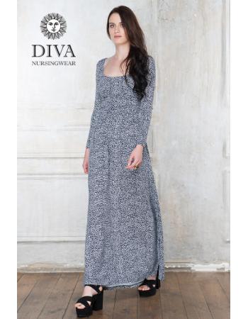 Nursing Dress Diva Nursingwear Stella Maxi Long Sleeved, Domino