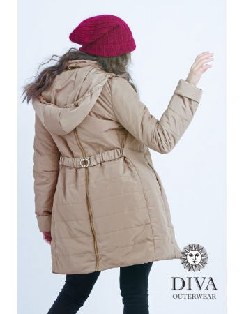 Babywearing Coat 4 in 1 with a Back-Carry Option (high-warm), Moka