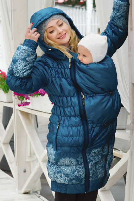 Babywearing Coat 3 in 1 (high-warm), Azzurro