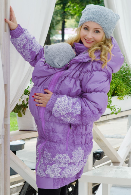 Babywearing Coat 3 in 1 (high-warm), Lavanda