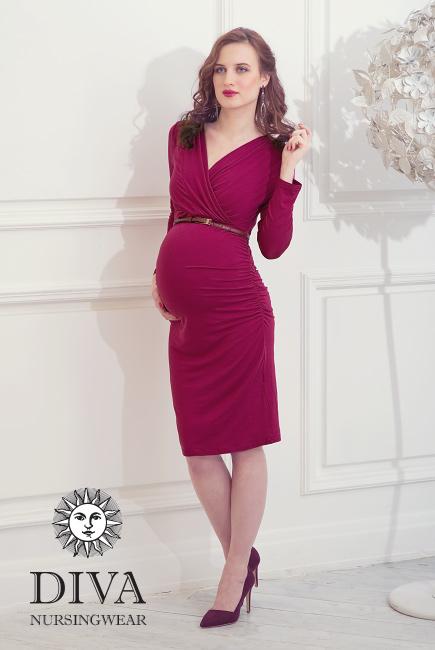 Nursing Dress Diva Nursingwear Lucia Long Sleeved, Berry