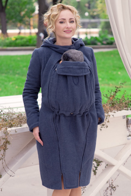 Babywearing Wool Winter Coat with a Backcarry Option, Notte
