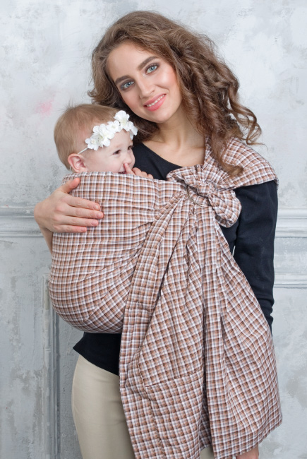 Simple Ring Sling Bayushka, Beige Tartan - 2-Layered