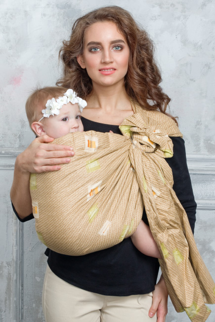 Simple Fabric Ring Sling Bayushka, Beige Squares