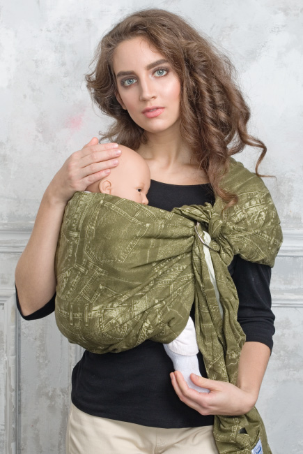 Simple Ring Sling Bayushka, Khaki - 2-Layered