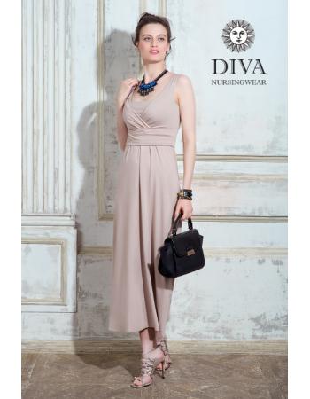 Nursing Dress Diva Nursingwear Alba Maxi Sleeveless, Grano