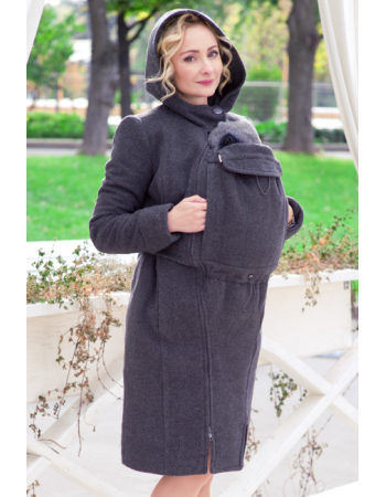 Babywearing Wool Winter Coat with a Backcarry Option, Antracite