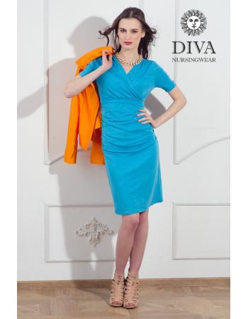 Nursing Dress Diva Nursingwear Lucia Short Sleeved, Celeste