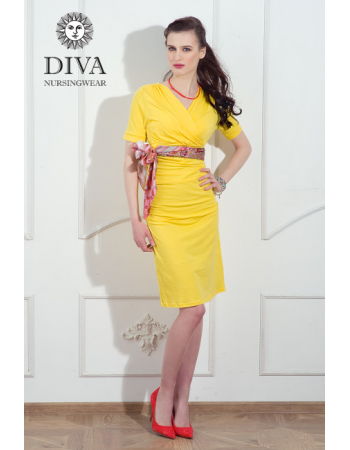 Nursing Dress Diva Nursingwear Lucia Short Sleeved, Limone