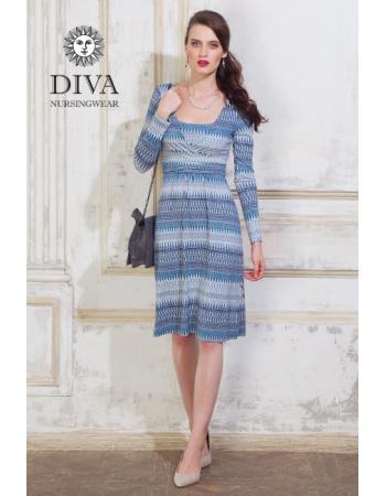 Nursing Dress Diva Nursingwear Alba Long Sleeved, Iceberg