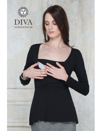 Nursing Top Diva Nursingwear Alba Long Sleeved, Nero