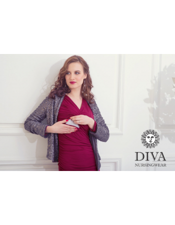 Nursing Dress Diva Nursingwear Lucia Long Sleeved, Berry