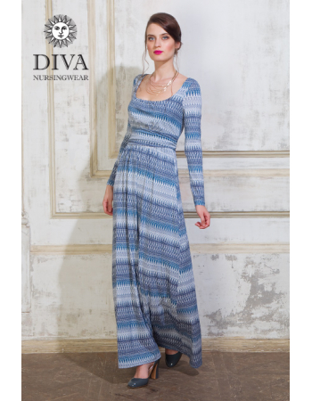 Nursing Dress Diva Nursingwear Stella Maxi Long Sleeved, Iceberg