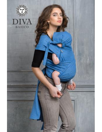 Diva Basico Mei Tai 100% cotton with a hood: Zaffiro