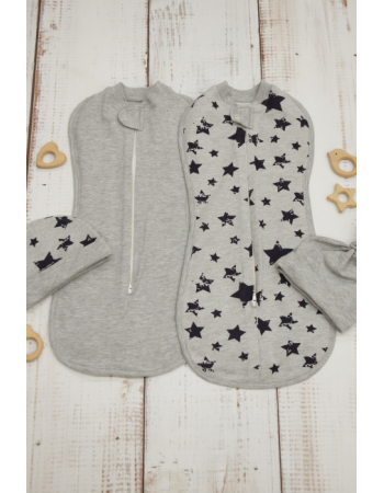 Swaddle Pods Set, Black Stars (Warm)