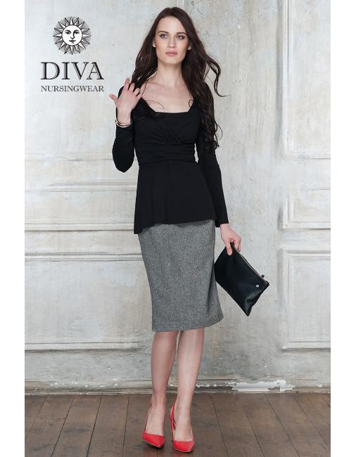 33d7e8664f37f Nursing Top Diva Nursingwear Alba Long Sleeved, Nero